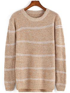 Khaki Round Neck Striped Knit Sweater