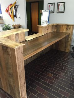 Custom Made Rustic Reclaimed Wood And Live Edge Reception Desk