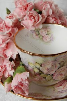 Rose cup and saucer with pink carnations (1) From: Etsy (2) Webpage has a convenient Pin It Button