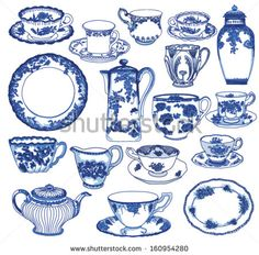 Fine China - Set of hand drawn porcelain teacups and saucers, teapots, plates, creamers etc, in cobalt blue Toile de Jouy pattern   - stock vector