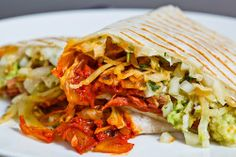 Corned Beef, Cabbage and Kimchi Burrito with Avocado Salsa Verde