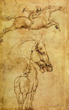 "Leonardo da Vinci, Study of Horse. One pinner wrote, ""Even Leonardo got the galloping horse wrong!"" Since I am not an exert, I felt it best to keep her words in the post."