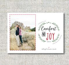 Holiday Photo Card: Comfort and Joy Wreath by CJANEdesignshop
