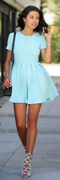 Blue Mint Summer Short Sleeved Cool Dress