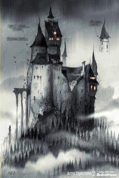 Concept art: hotel transylvania 2 sylvain marc concept art l концепт арт (м Gothic Castle, Dark Castle, Fantasy Castle, Gothic Horror, Arte Horror, Gothic Art, Horror Art, Vampire Castle, Dracula Castle