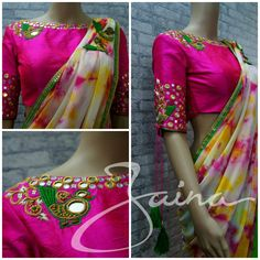 Women's Blouses for sale Trendy Sarees, Stylish Sarees, Fancy Sarees, Blouse Neck Designs, Blouse Styles, Blouse Patterns, Mirror Work Blouse, Blouse Models, Before Wedding