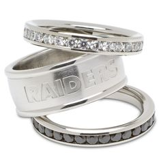 Logo Art RAI035CR-SZ7 Oakland Raiders Stainless Steel Womens Rings
