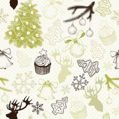 Vector seamless pattern with ink hand drawn Christmas and New year's elements and illustrations