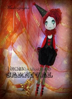 OOAK cloth art doll Urchin by Vicki at Lilliput Loft