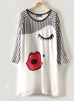 White Red Lips Print Vertical Stripes Cotton T-shirt