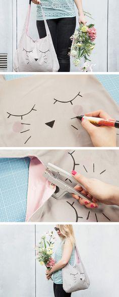 Tutoriales DIY: Cómo hacer un bolso de tela con cara de gato vía DaWanda.com