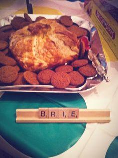 Game night idea. Use scrabble letters as appetizer decor. Cute!