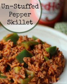 Un-Stuffed Pepper Skillet | www.TwoHealthyKitchens.com | #stuffedpeppers #greenpeppers #healthy #easy #skilletmeal #recipe