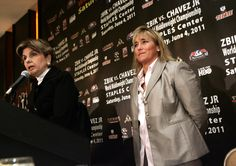 Celebrity lawyer Gloria Allred(L), attorney for female WBC super welterweight world champion Christy Martin(R) speaks during a press conference Gloria Allred, Women Boxing, Wbc, Lawyer, Conference, Champion, Celebrity, Female, World