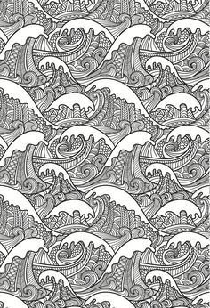 beautiful waves colouring page, in an artistic japanese style. grown up colouring: