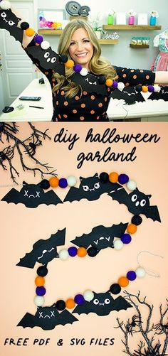 You can make this cute DIY Halloween Bat Garland with these FREE SVG files and tutorial! Perfect halloween decor! Easy to make! great for a party or house decor. #freesvg #crafting #nosew #DIY #cricut #cricutmaker #halloweendecor