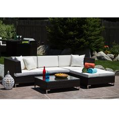 Miami Beach 5-piece Outdoor Seating Set - Overstock™ Shopping - Big Discounts on Sofas, Chairs & Sectionals