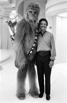 "Peter Mayhew ""Chewbacca"" and Billy Dee Williams on the set of Empire Strikes Back @retrostarwarsstrikesback"