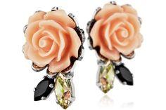 Boucles d'oreilles puces rose Blooming plaquées argent, cristal Swarovski Reminiscence