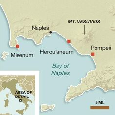 Map of area in Southern Italy impacted by the eruption of Mt Vesuvius in 79 AD to include Pompeii and Herculaneum Map Of Italy Regions, Italy Map, Pompeii Italy, Pompeii And Herculaneum, Ancient Rome, Ancient History, Pompeii History, Roman History, Frozen In Time