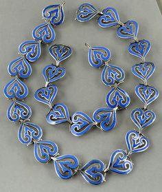 Necklace & Bracelet | Margot de Taxco Sterling silver and light blue enamel.  Vintage ~ Mexico