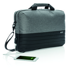 """This 15.6"""" laptop bag offers unique style and storage for your laptop and tablet. With pockets to organize all of your tech gadgets and personal accessories. RFID safe sleeve for your wallet and passport. Connect your powerbank easily to the integrated USB charging port and charge your phone or tablet on the go. Backside includes zippered pocket and trolley strap. Usb, Tech Gadgets, Travel Bags, Notebook, Wallet, Komfort, Connect, Organize, Style"""