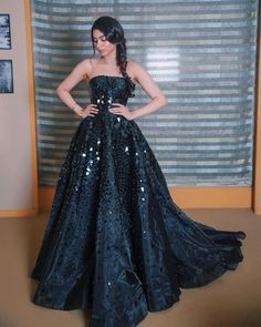 Image may contain: 1 person, standing A Woman's Best Friend. Various forms of jewellery, All you have to do is just check out our exclusive collection Indian Wedding Gowns, Indian Gowns Dresses, Indian Bridal Outfits, Indian Fashion Dresses, Indian Designer Outfits, Evening Dresses, Gown Dress Party Wear, Party Gowns, Lehnga Dress