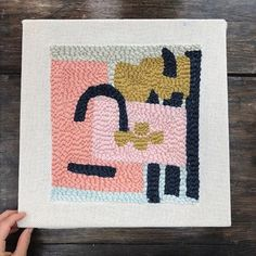 Small hooked rug by Rose Pearlman (rug hooking, oxford punch needle)