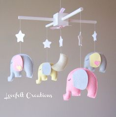 Baby mobile - Elephant Mobile - Baby Girl Mobile - Nursery Mobile - CUSTOMIZE....You can pick colors too :)