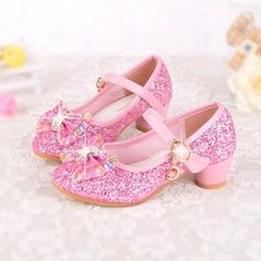 5eea33ac079 Spring Kids Girls High Heels For Party Sequined Cloth Blue Pink Shoes Ankle  Strap Snow Queen Children Girls Pumps Shoes