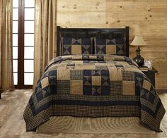Navy Stars Quilt Sets Hand Quilted All Cotton Star Quilts Plaids Khaki Patchwork