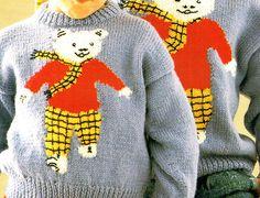 Vintage ROBIN 15026 Children Rupert The Bear by TheAtticofKitsch Knitting Patterns Free, Free Pattern, Crochet Patterns, Yarn Bombing, Children Clothing, Retro Toys, Rag Dolls, Vintage Knitting, Teddy Bears