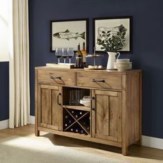 Bring a cool and retro feel to your space with this Rylan Natural Wood Buffet Console Server. Its vintage finish and modern design make it perfect for storage. Rustic Buffet, Wood Buffet, Rustic Wine Cabinet, Buffet Console, Buffet Server, Kitchen Buffet Cabinet, Dining Buffet, Posters Vintage, Muebles Living