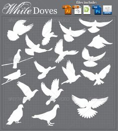 White Doves — Photoshop PSD #silhouette #animal • Available here → https://graphicriver.net/item/white-doves/3675697?ref=pxcr