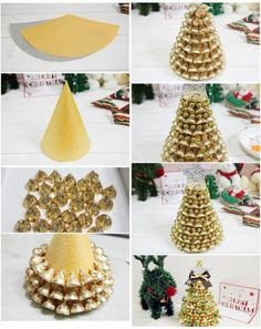 LoveThisPic offers DIY Gold Hershey Kisses Tree pictures, photos & images, to be. Christmas Candy Crafts, Handmade Christmas Decorations, Homemade Christmas Gifts, Diy Christmas Ornaments, Kids Christmas, Holiday Crafts, Homemade Gifts, Christmas Presents, Diy Ouro