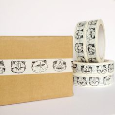 kitty sticky tape - white vinyl cat printed tape