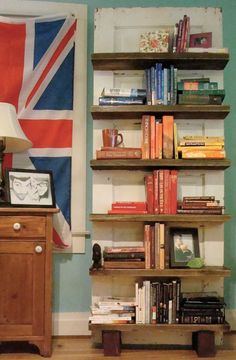 Dishfunctional Designs: New Takes On Old Doors: Salvaged Doors Repurposed. Bookshelves on an old door! Old Wood Doors, Salvaged Doors, Repurposed Doors, Recycled Door, Antique Doors, Vintage Doors, Recycled Crafts, Creative Bookshelves, Bookshelf Design