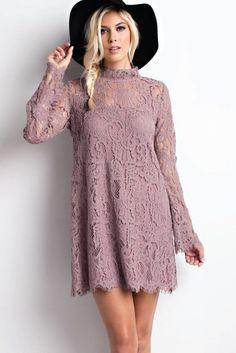 Priya Lace Dress in Mauve