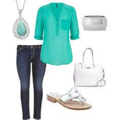 A fashion look from March 2015 featuring Silver Jeans Co. leggings, Jack Rogers sandals and Brooks Brothers handbags. Browse and shop related looks.