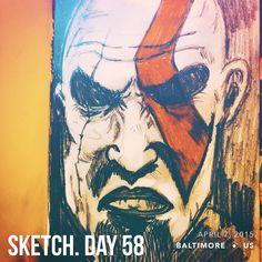 #sketchaday #artlove #penandink #nerds #art #sketchbook #artists #imayneednewglasses #pencils #acompanyofn3rds #sanctuary #n3rds #prismacolor #moleskine #camu #Kratos #GodofWar