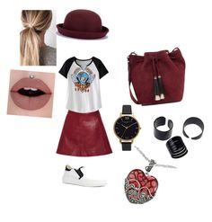 """""""Red streets"""" by mfossy on Polyvore featuring Ganni, Loeffler Randall, Olivia Burton and Lord & Taylor"""