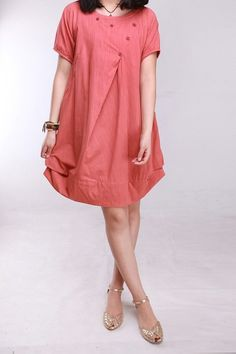 Summer dress/ cotton pleated Short sleeve dress with by MaLieb, $69.00