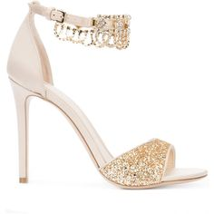 Monique Lhuillier glitter sandals ($995) ❤ liked on Polyvore featuring shoes, sandals, nude, leather shoes, nude shoes, monique lhuillier shoes, real leather shoes and genuine leather shoes