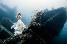 そばには50年前の沈没船!海中に投げ出された花嫁の写真が美しい…