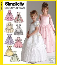 Girls Pageant Dress Pattern Flower Girl Long Gown Full Size 3 - 4 - 5 - 6 Uncut Simplicity 4764 Design Your Own by PrettyfulPatterns on Etsy Girls Special Occasion Dresses, Girls Easter Dresses, Gowns For Girls, Little Girl Dresses, Girls Dresses, Flower Girl Dresses, Flower Girls, Pagent Dresses, Party Dresses