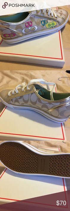 Brand new Coach shoes -Never Worn New and never used Size 8, khaki and gold trim Coach Shoes Sneakers