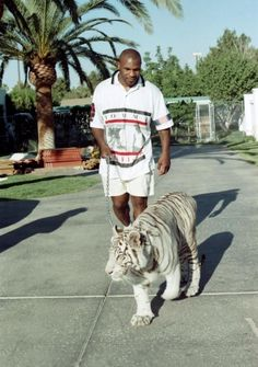 Mike Tyson walking his tiger 90's