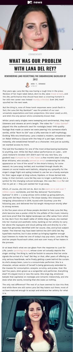 Thank you, Anne Donahue!! ❤ This article on Lana Del Rey is long overdue! #LDR