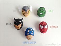 Easter eggs.  Great Easter craft for little boys :   superhero easter eggs