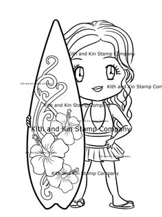Surfer Girl Rory, Digital Stamp, Digi Stamp, Digital Download for colouring projects with Copic and similar Markers
